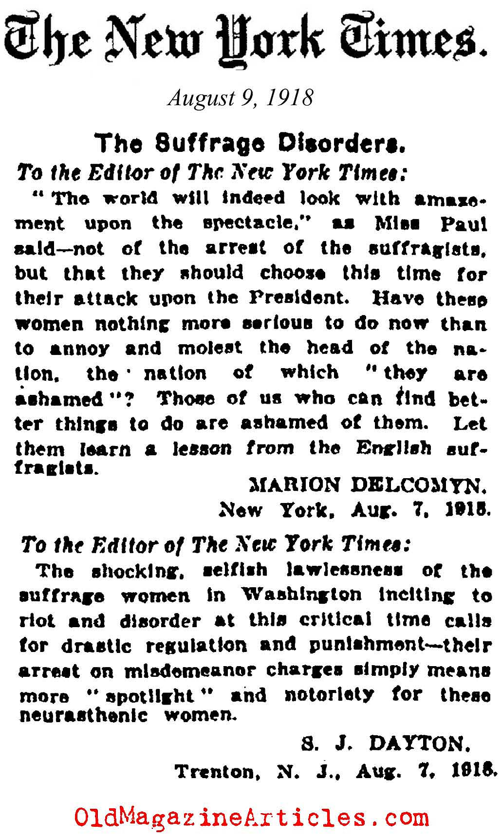 Suffragettes Attack President Wilson (New York Times, 1918)