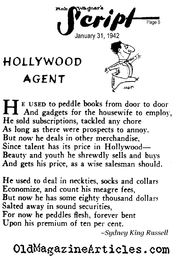 Ode to the Hollywood Agent  (Rob Wagner's Script Magazine, 1942)