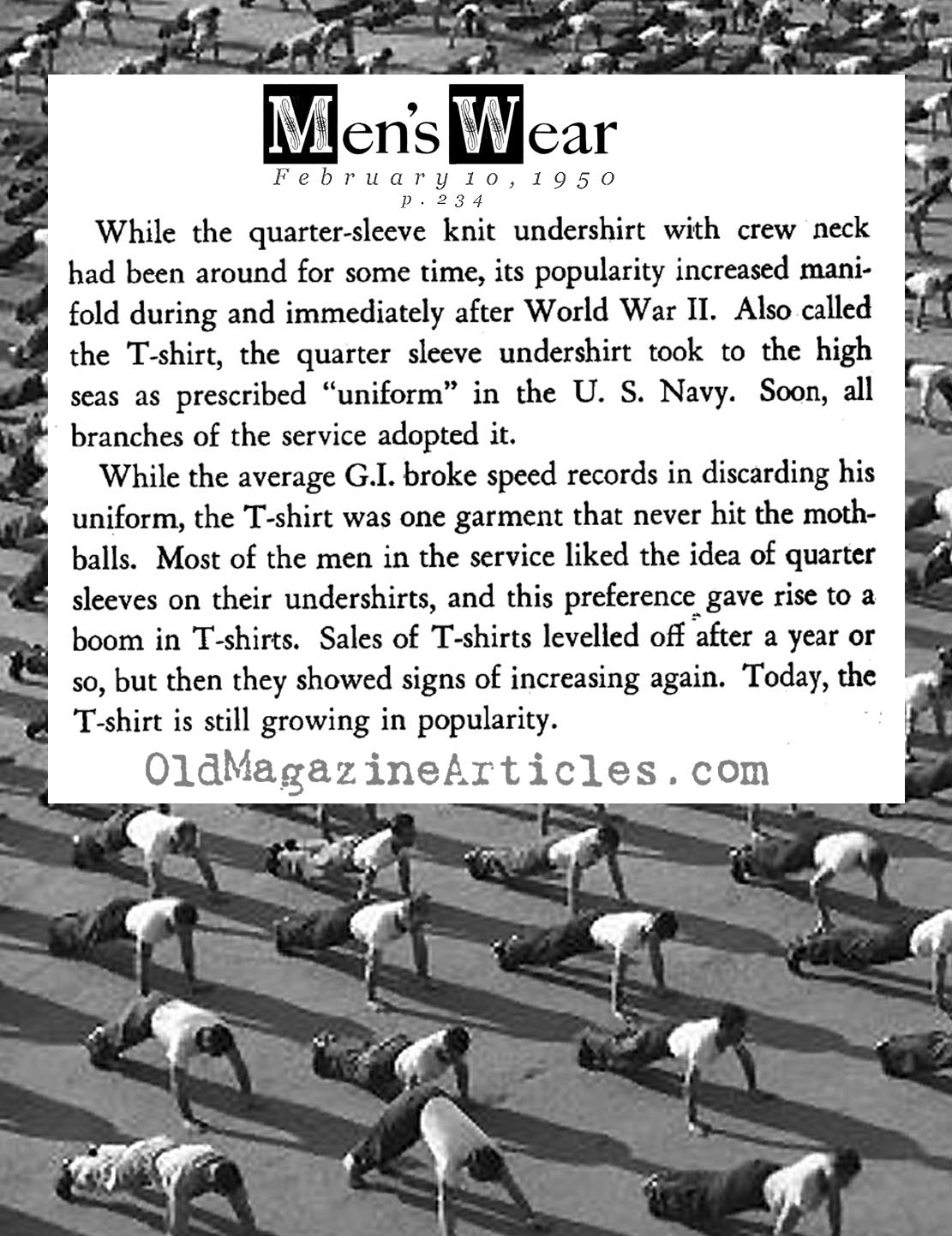 The World War Two Origins of the T-Shirt (Men's Wear Magazine, 1950)