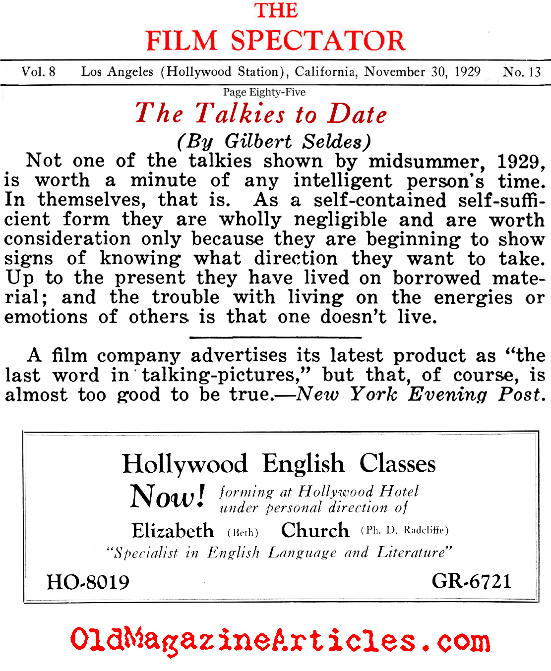 Talking Pictures Fail to Impress (Film Spectator, 1929)