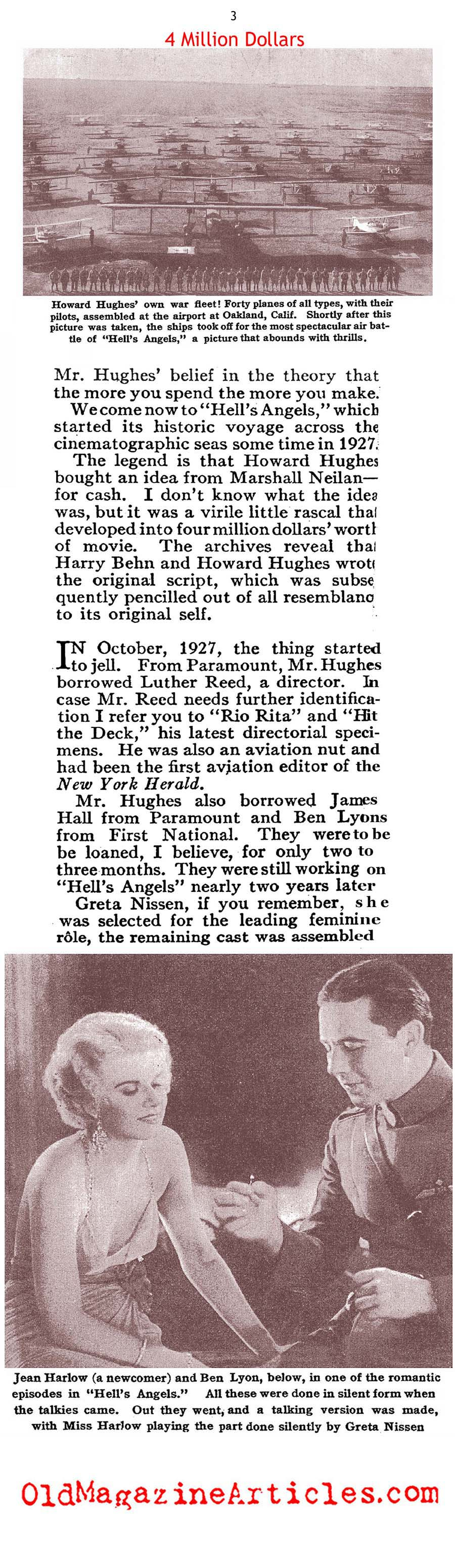 Howard Hughs and HELL'S ANGELS (Photoplay Magazine, 1930)