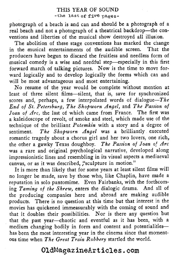 The Year of Sound (Theatre Arts Magazine, 1929)
