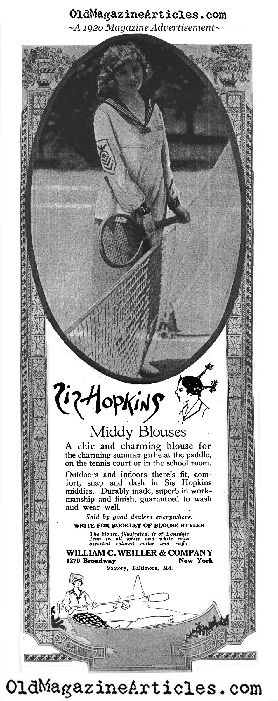 Girl's Tennis Blouse (Magazine Advertisement, 1920)