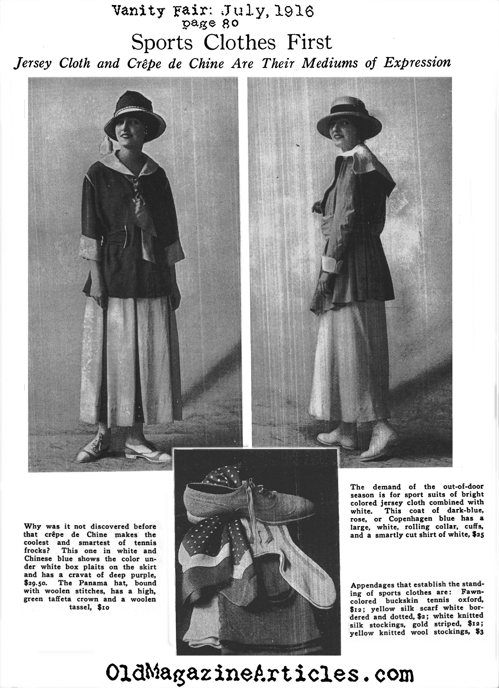 Crepe de Chine Makes it's Appearance on the Tennis Court (Vanity Fair Magazine, 1916)
