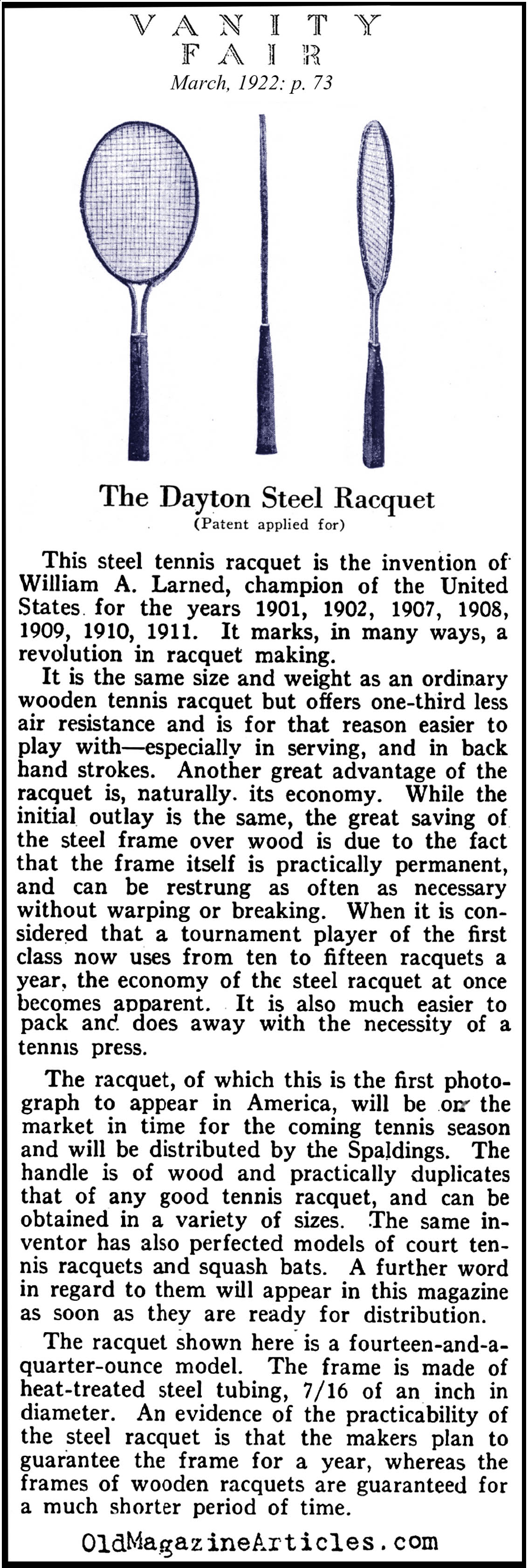 The Steel Tennis Racket Makes It's Appearance (Vanity Fair Magazine, 1922)