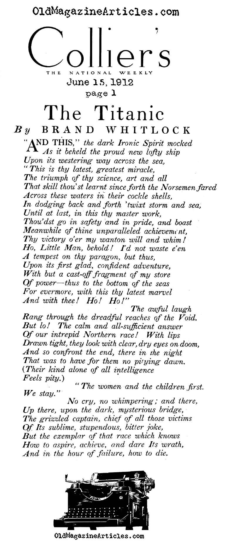 The TITANIC Verses (Collier's Magazine, 1912)