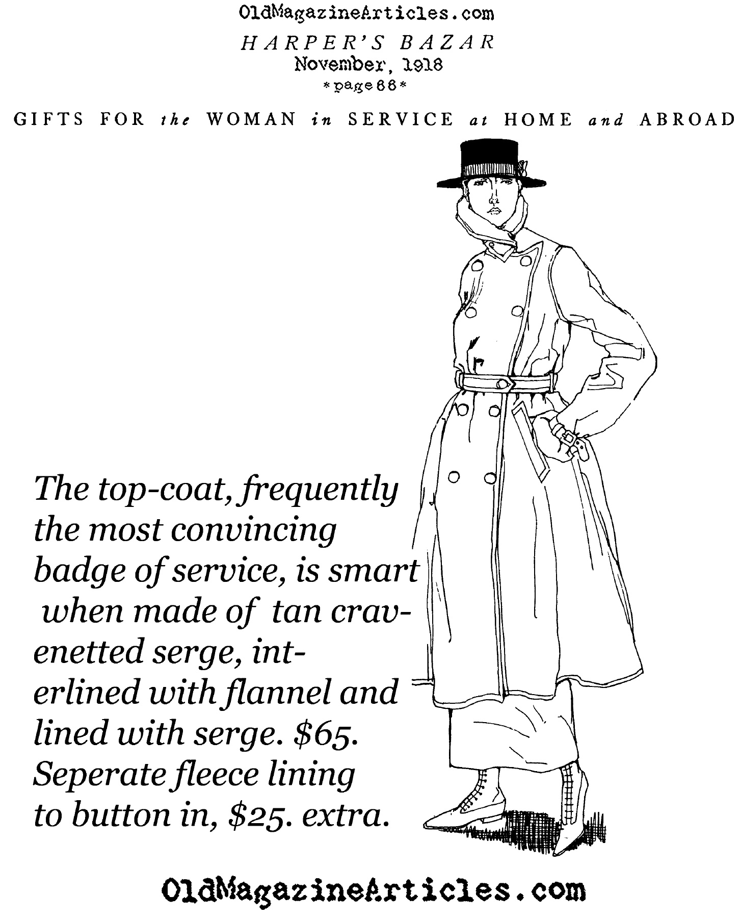 A Trench Coat for the Fashionable Ladies (Harper's Bazaar, 1918)