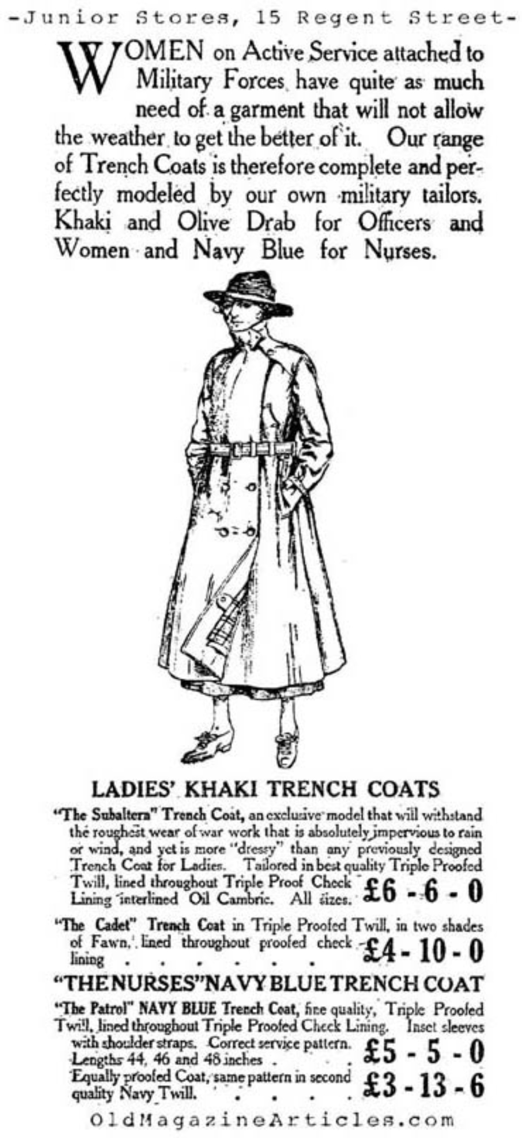Trench Coats for Women  (The Stars and Stripes, 1918)