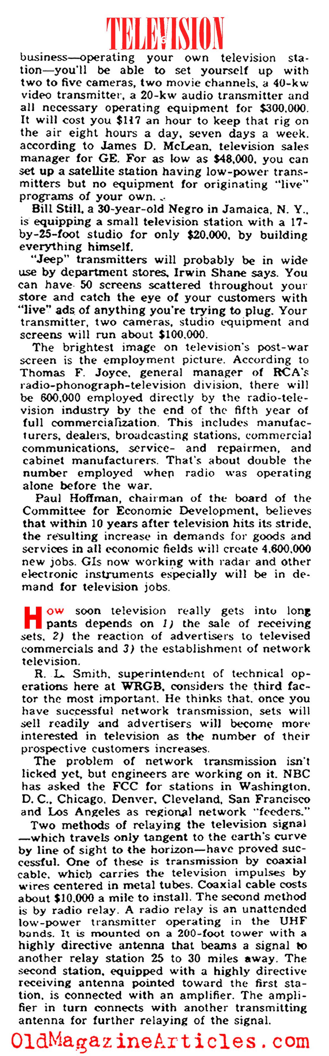 T.V. as It Was in 1945 (Yank Magazine, 1945)