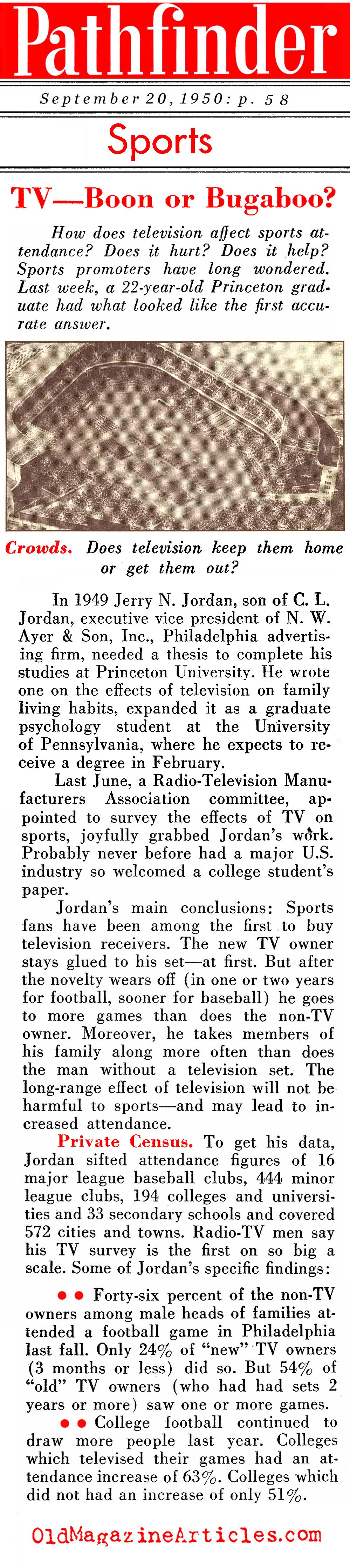 TV Viewers And Sports Attendance (Pathfinder Magazine, 1950)