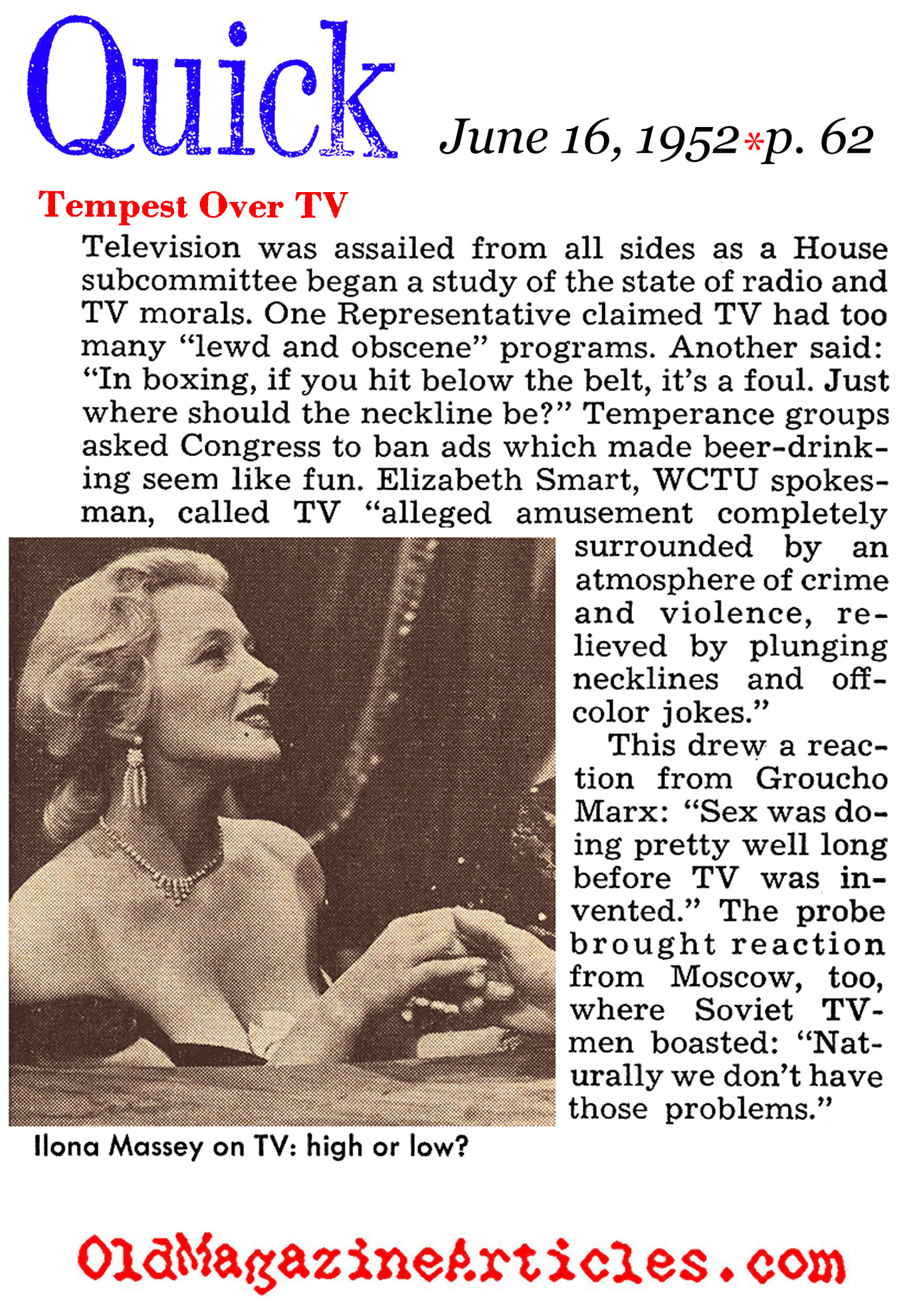 Congress Examines the Morals Portryed on T.V. (Quick Magazine, 1952)
