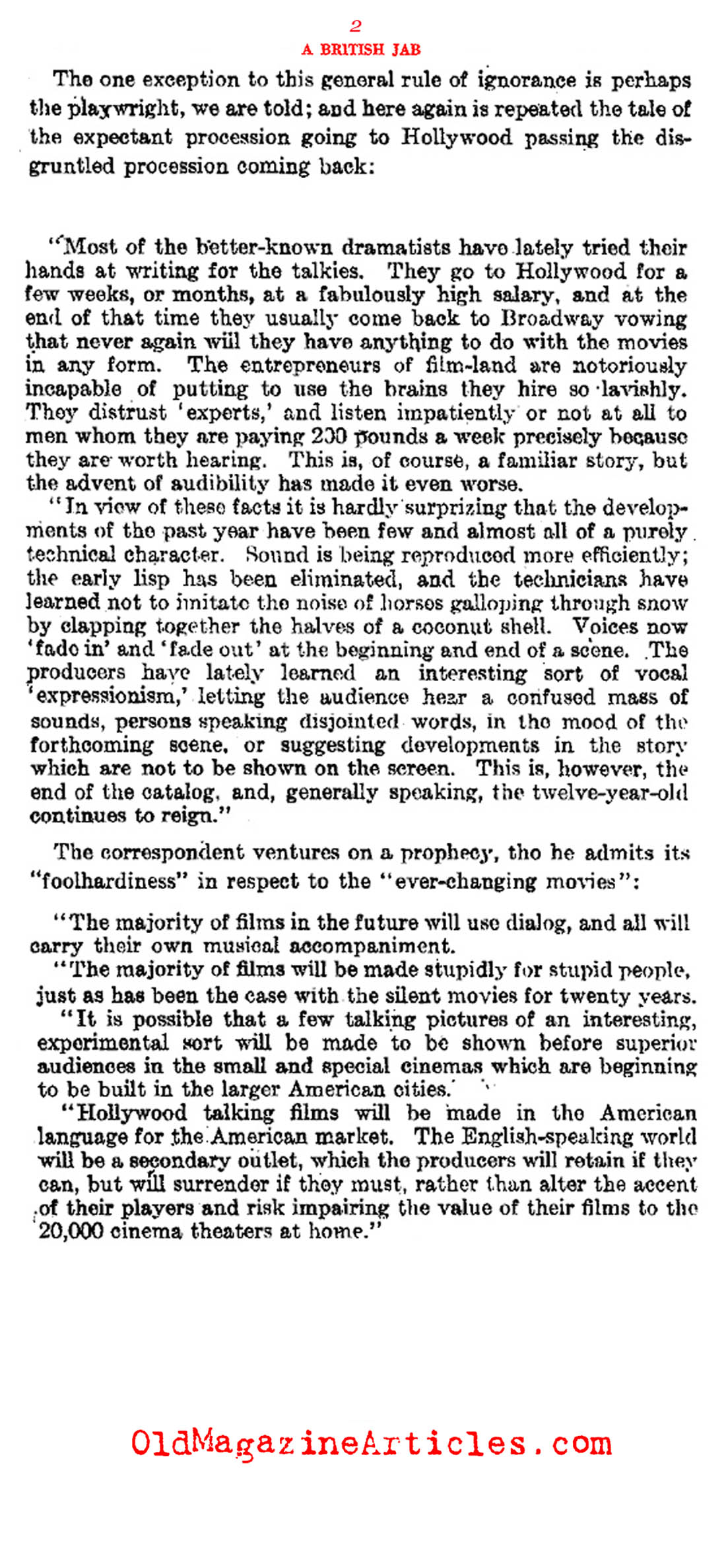 Some British Opinions About the First Talking Movies (Literary Digest, 1929)