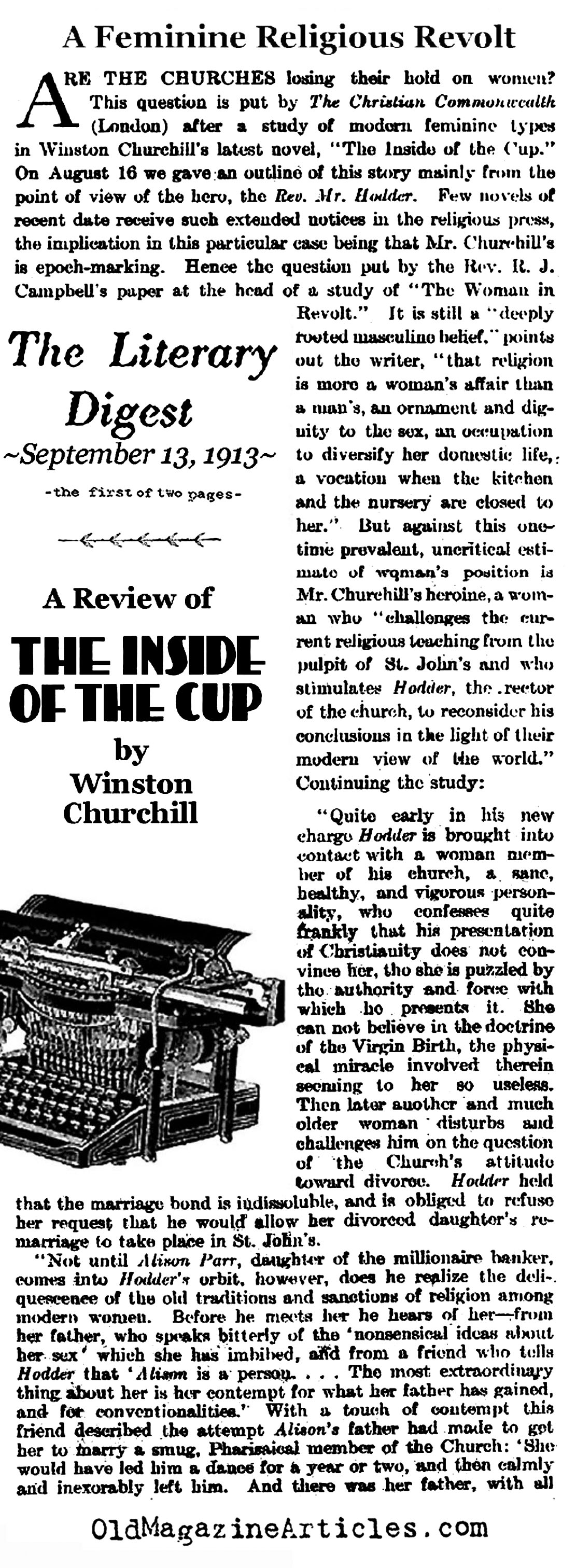 Reviewed: The Inside of the Cup <BR>by Winston Churchill (Literary Digest,1913)