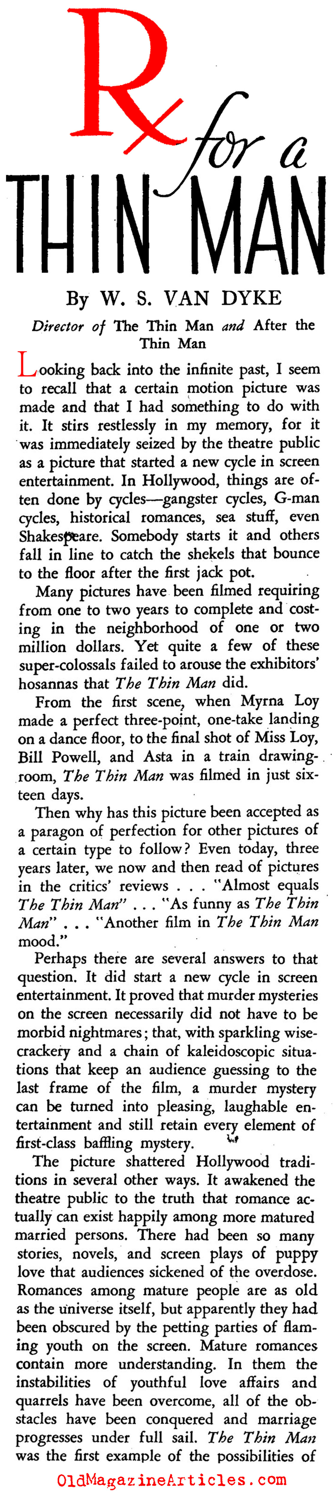 The Thin Man (Stage Magazine, 1937)