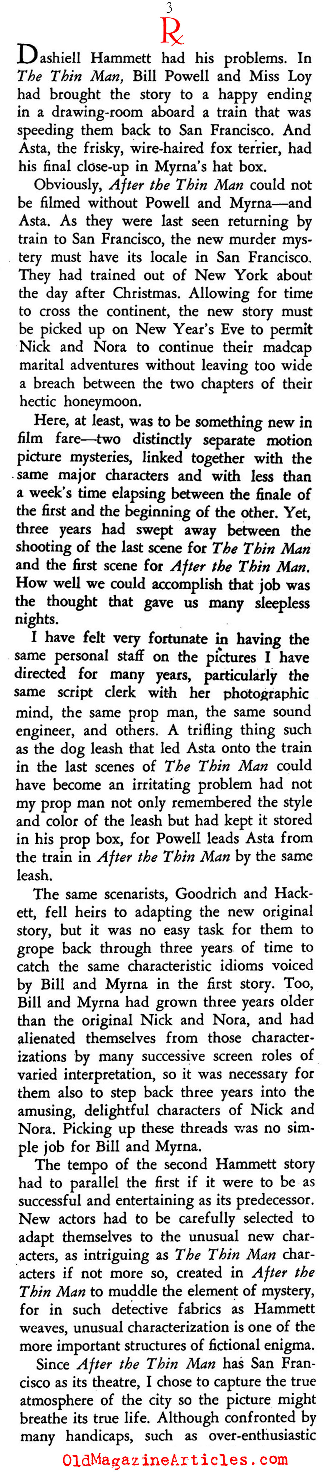 ''The Thin Man'' (Stage Magazine, 1937)