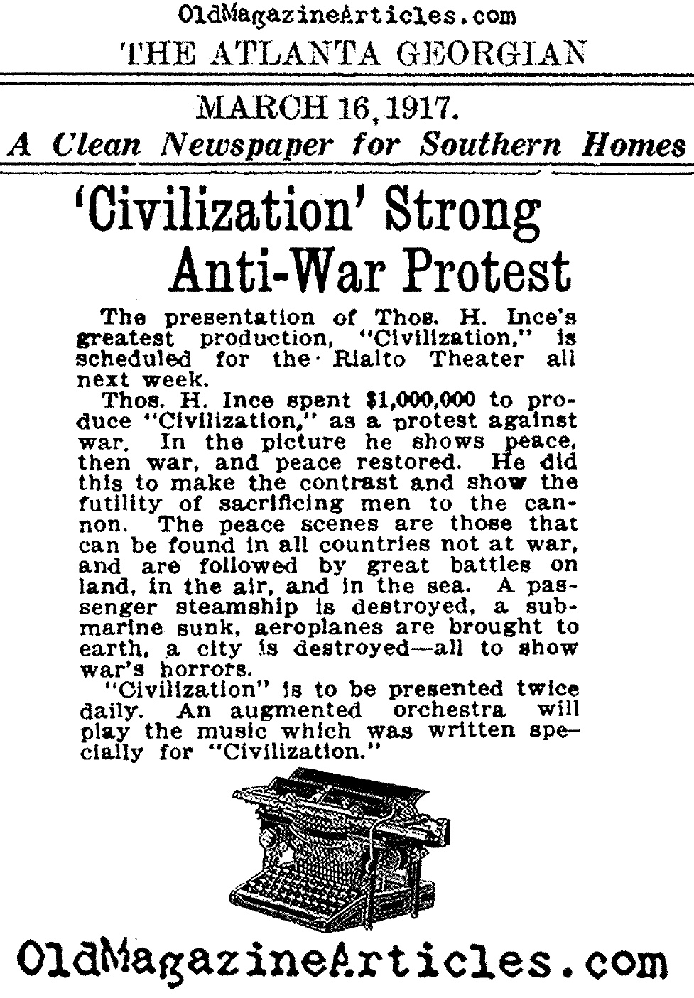 REVIEW OF SILENT FILM CIVILIZATION BY THOMAS INCETHOMAS INCE – Movie Review