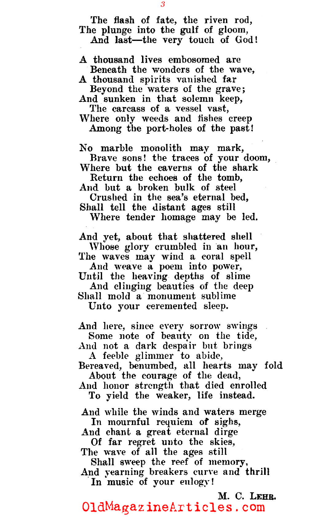 <em>Titanic</em> Verses    (The Bookman, 1912)