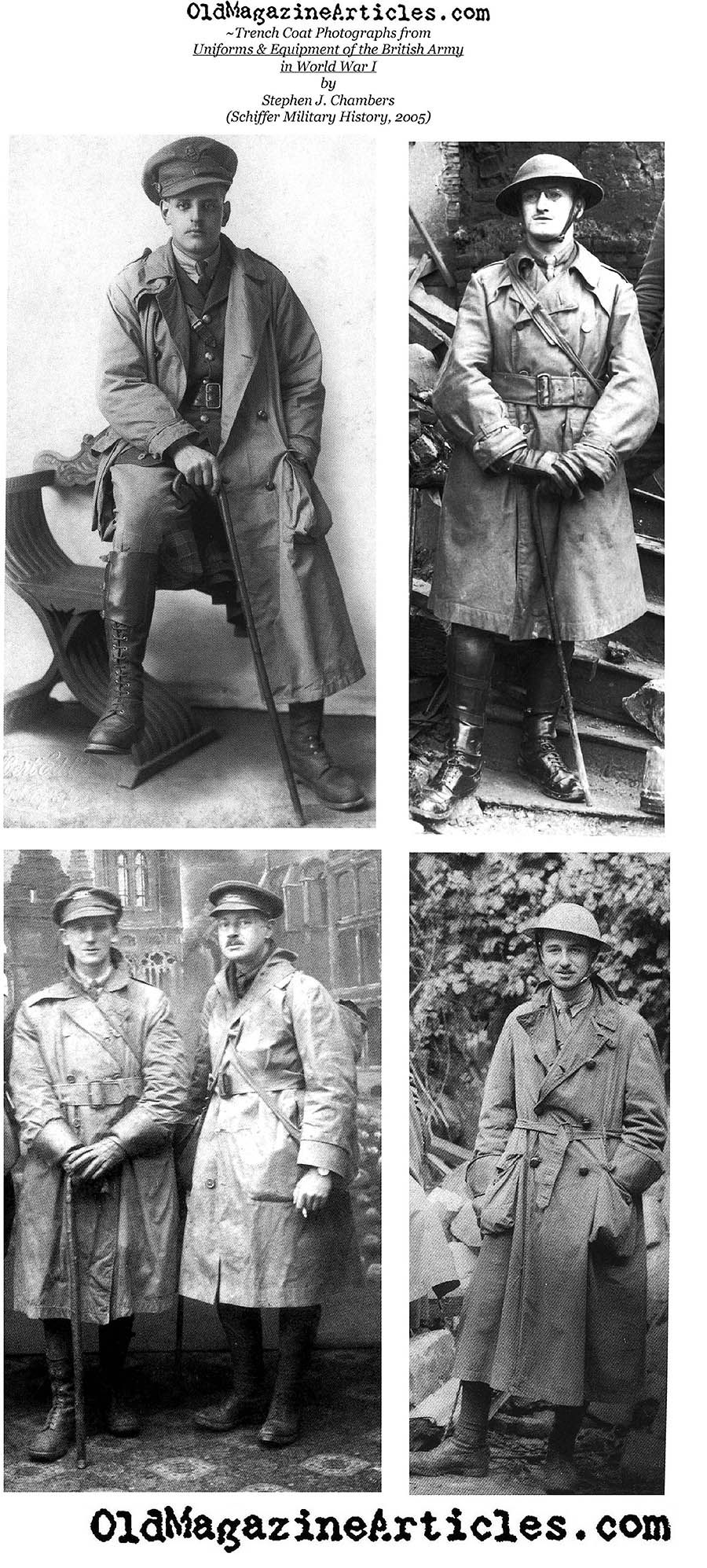 Four photographs of  World War One Trench Coats (A Current Book, 2005)