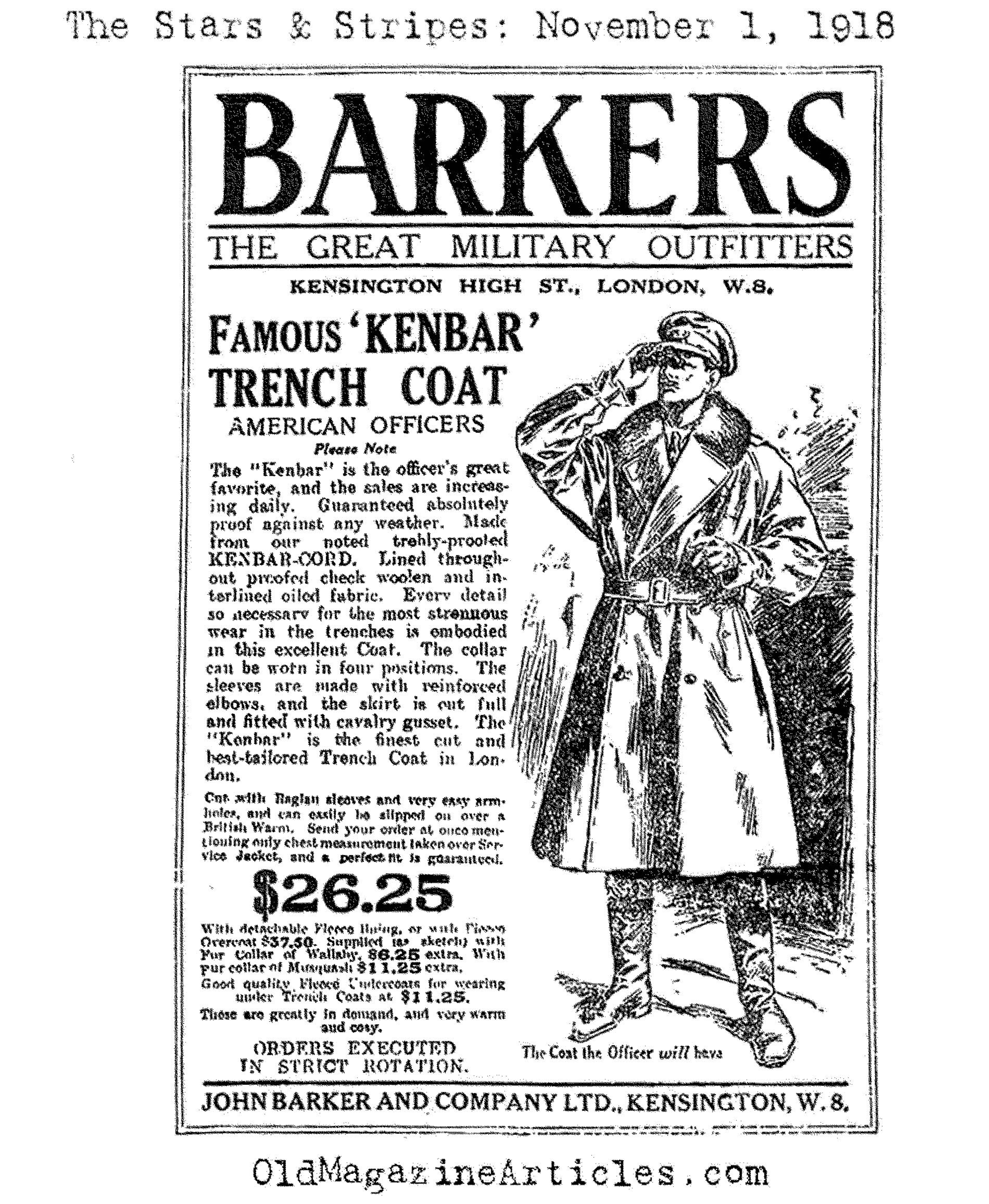 Trench Coat by Barker  (The Stars and Stripes, 1918)