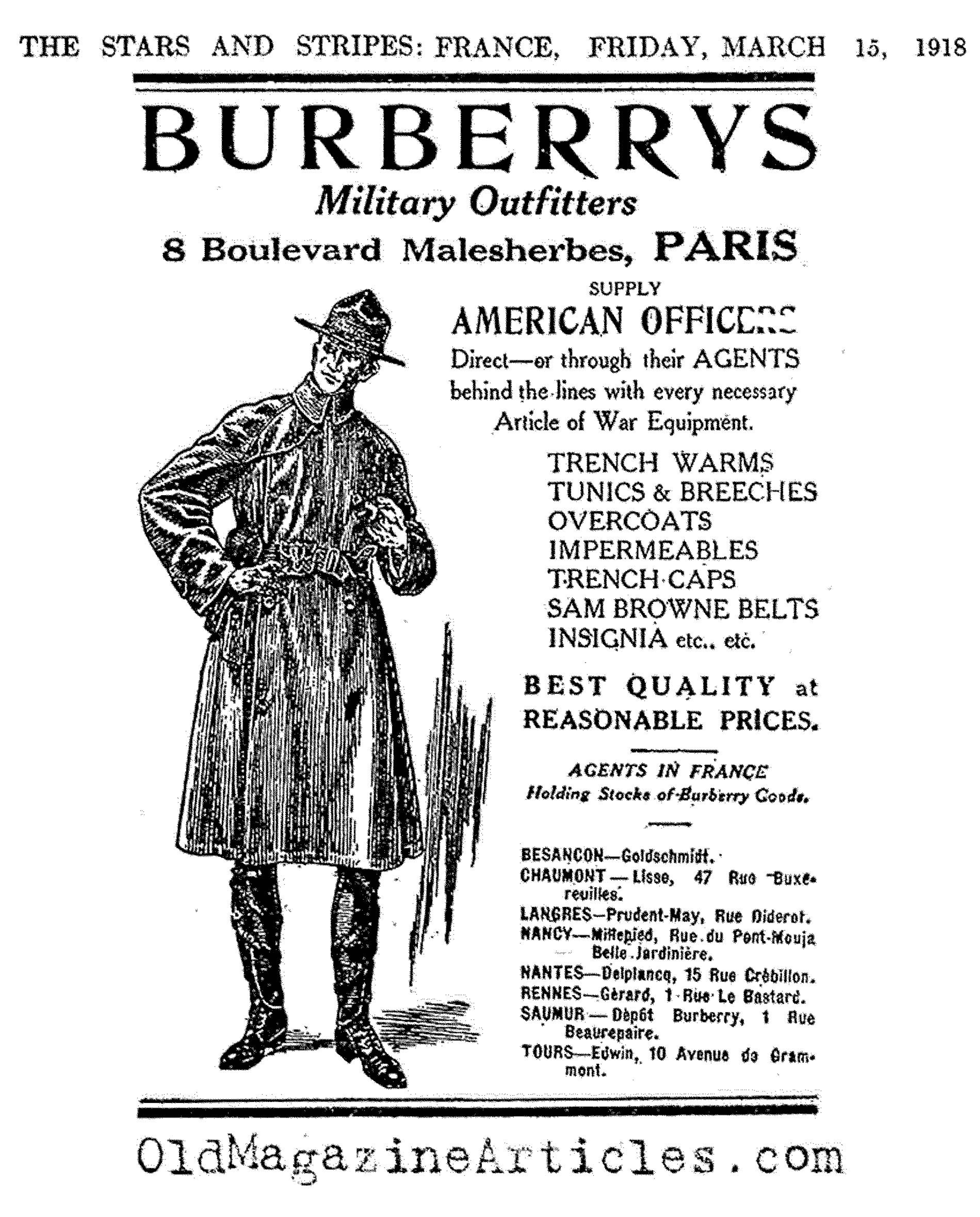The Famous One: The Burberry Trench Coat  (The Stars and Stripes, 1918)