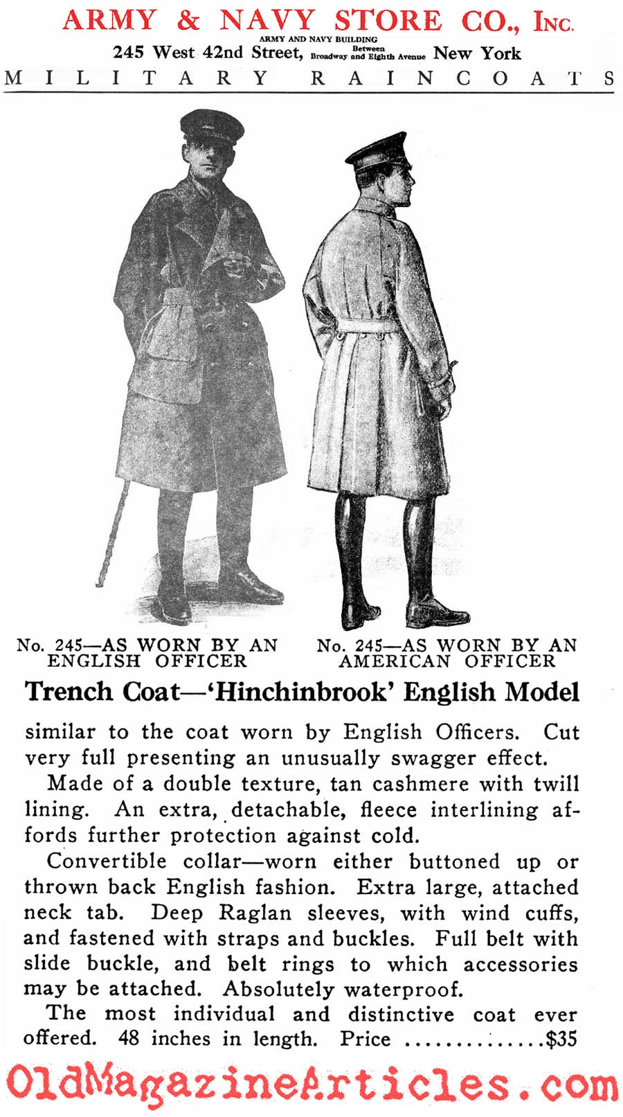 Trench Coat by Hitchinbrook  (Army and Navy Stores, 1918)