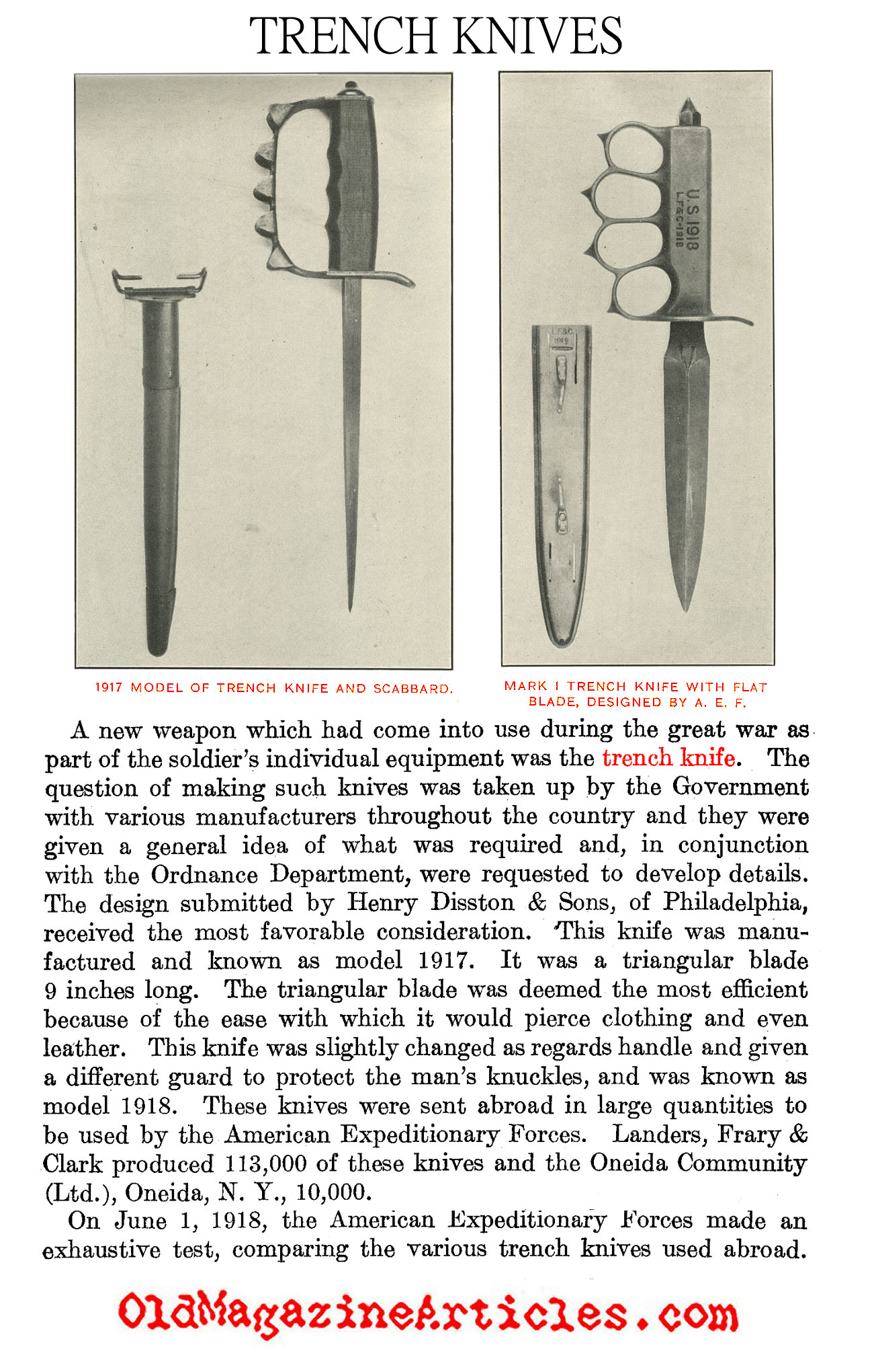 Army Knives Ww1 Trench Diagram Fighting World War One Us Rh Oldmagazinearticles Com Tanks