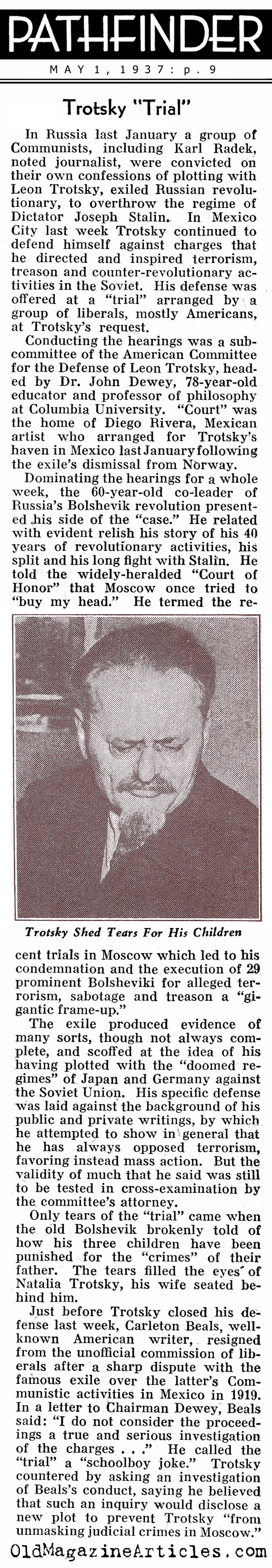 Stalin Puts Trotsky ''On Trial'' (Pathfinder Magazine, 1937)