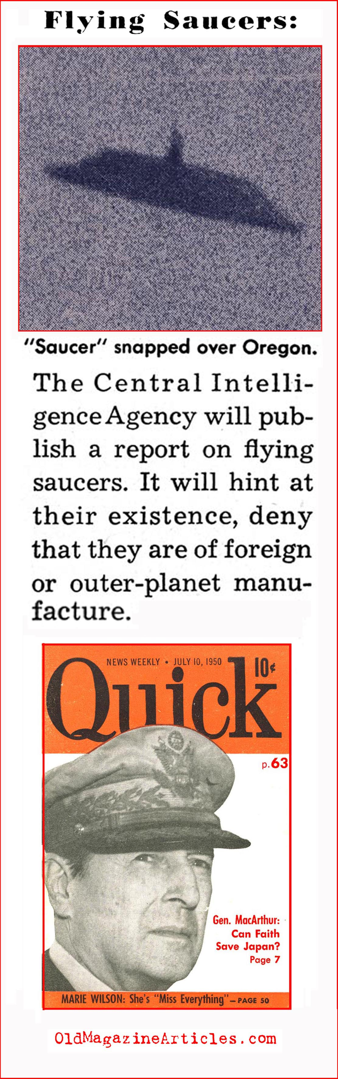 CIA Issues Report on UFO Sightings (Quick Magazine, 1950)