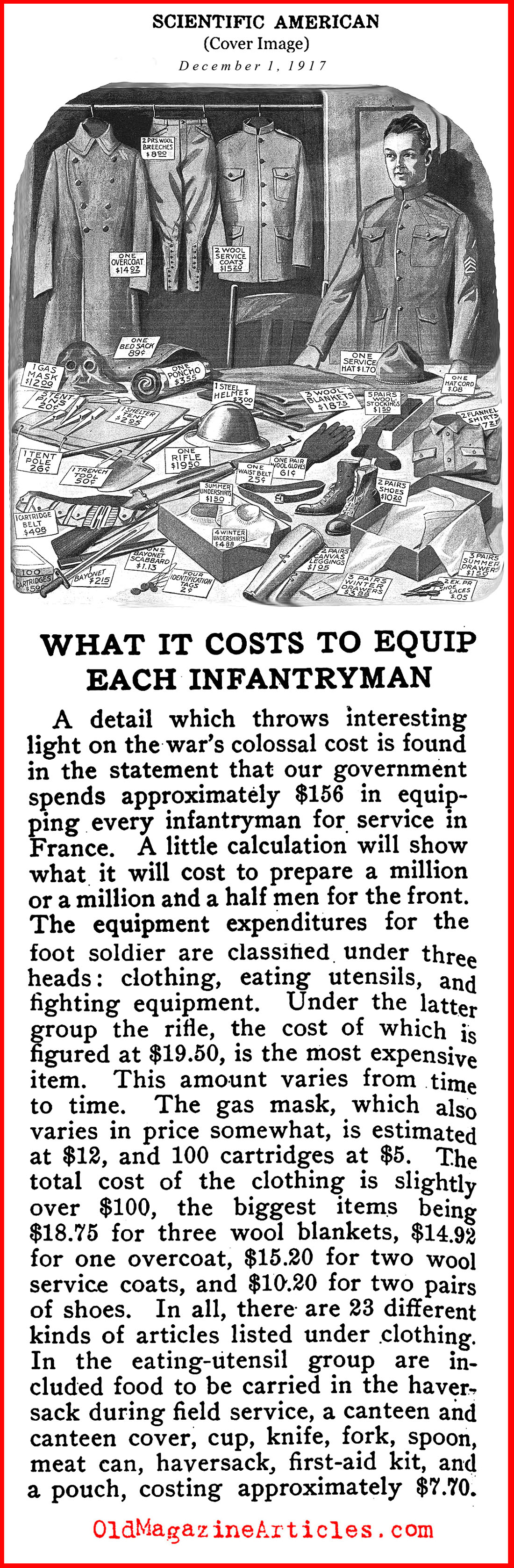WW1 UNIFORM COST TO THE TAXPAYER,1917 COST FOR A WW1 US ARMY