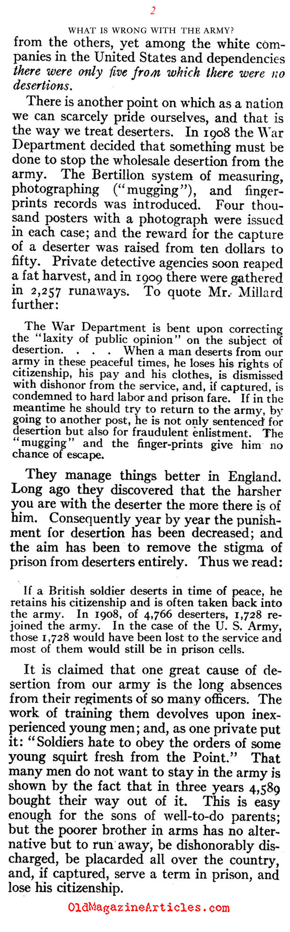 The U.S. Army: Plagued by Deserters   (Review of Reviews, 1910)