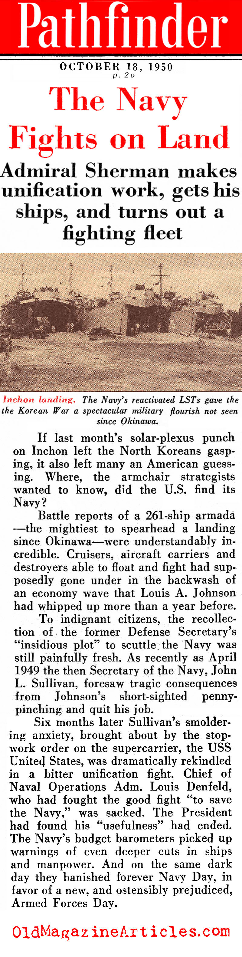 Korea: The Contributions of the U.S. Navy<BR> (Pathfinder Magazine, 1950)