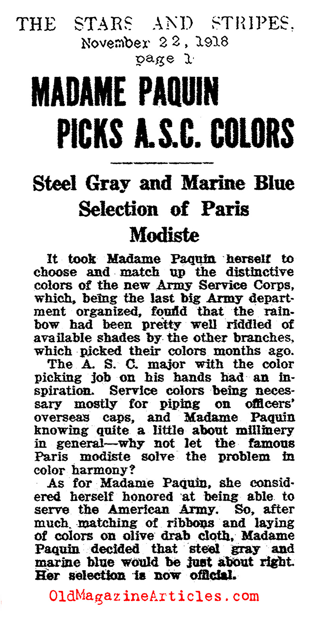 A Great Paris Couturier Lends Her Talent to American Uniforms (The Stars and Stripes, 1918)