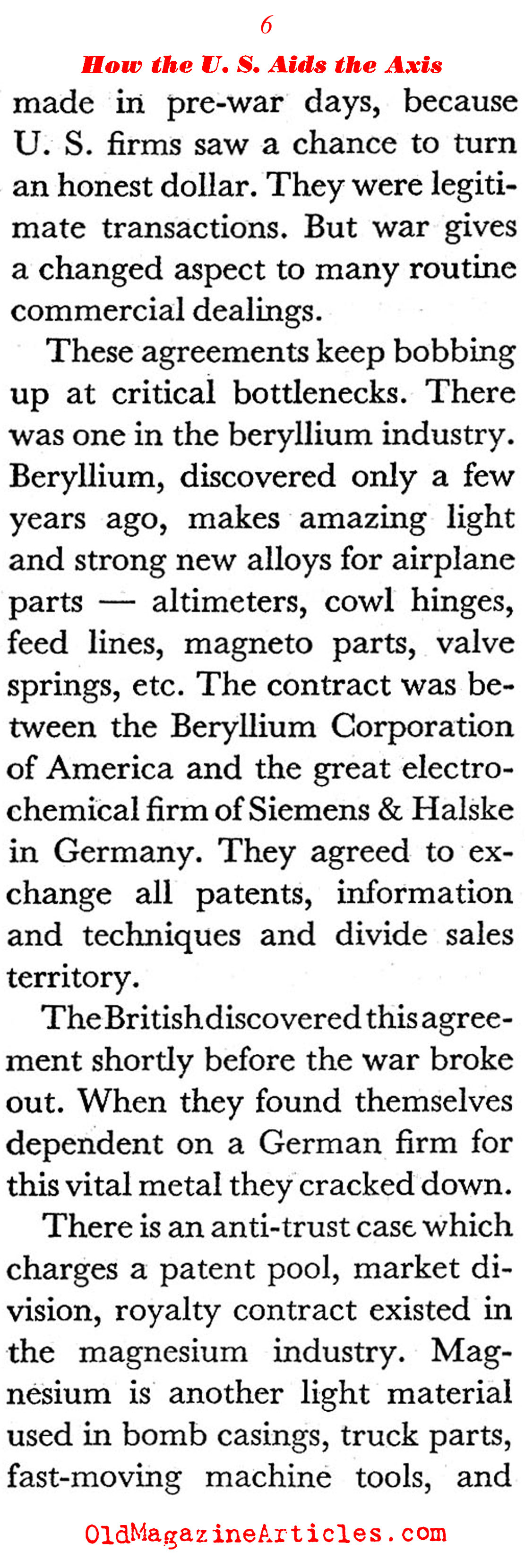 How the US Helped the Fascists Before Entering the War (Coronet Magazine, 1941)