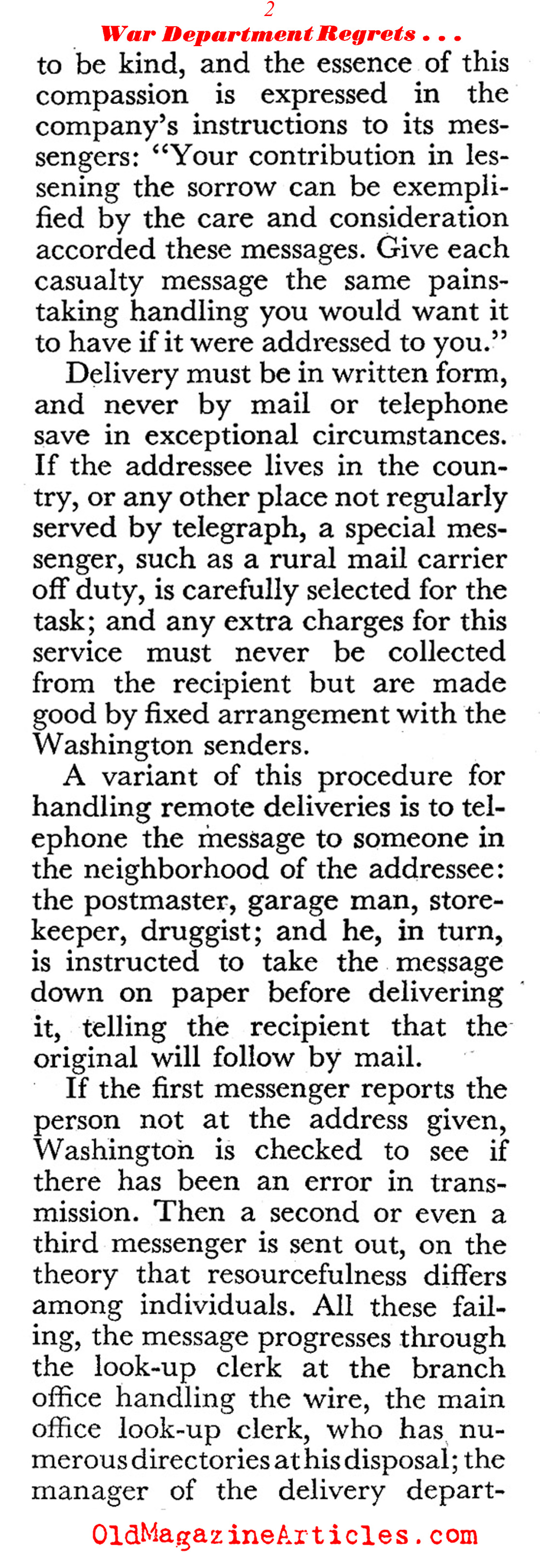 The Most Dreaded Telegram on the Home Front (Coronet Magazine, 1944)