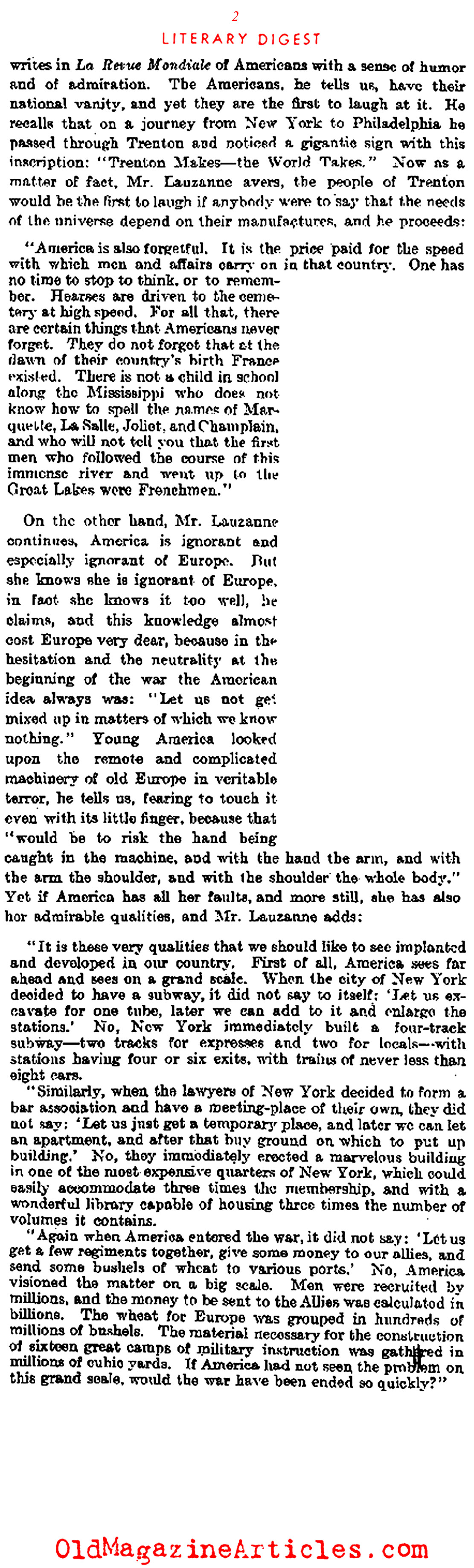 America Vilified in the European Press (Literary Digest, 1928)