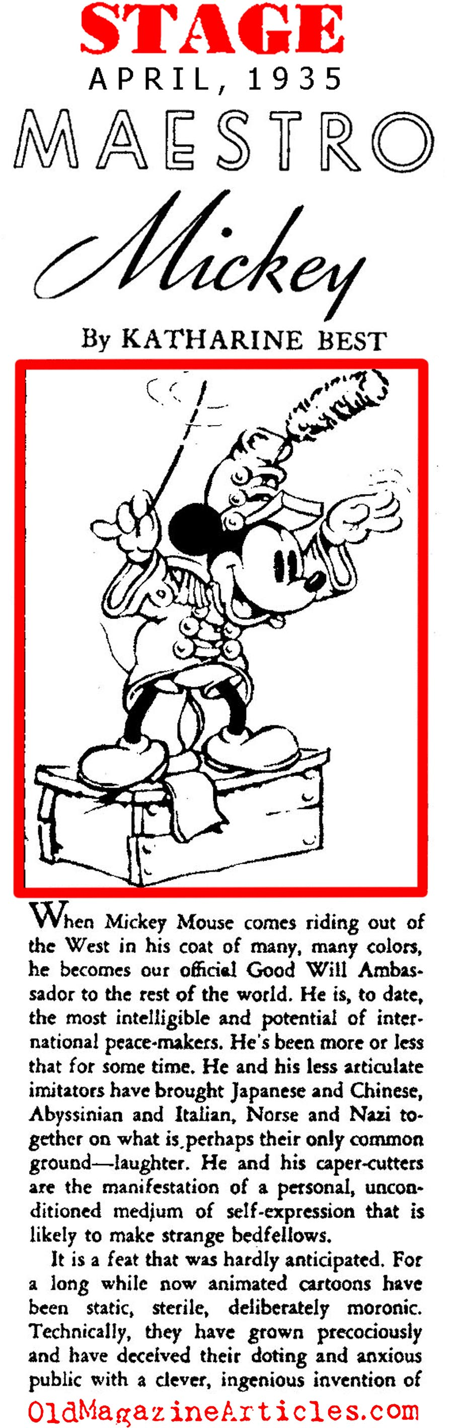 Mickey Mouse: Goodwill Ambassador (Stage Magazine, 1935)