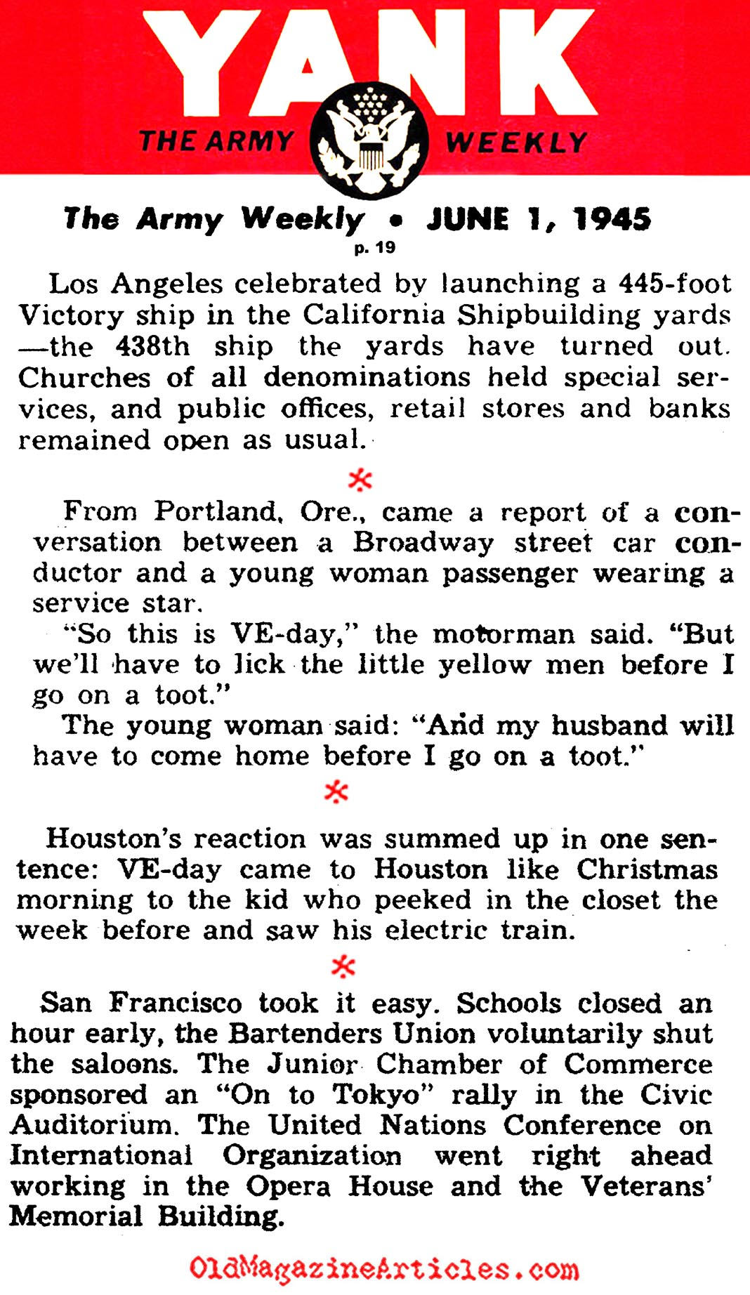 VE-Day in Four Western American Cities (Yank Magazine, 1945)