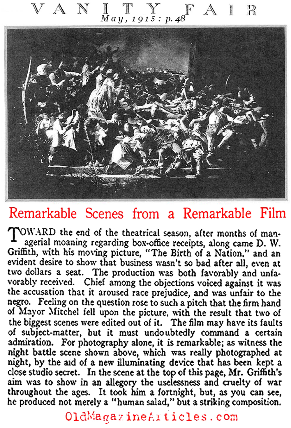 Birth of a Nation  Reviewed (Vanity Fair, 1915)