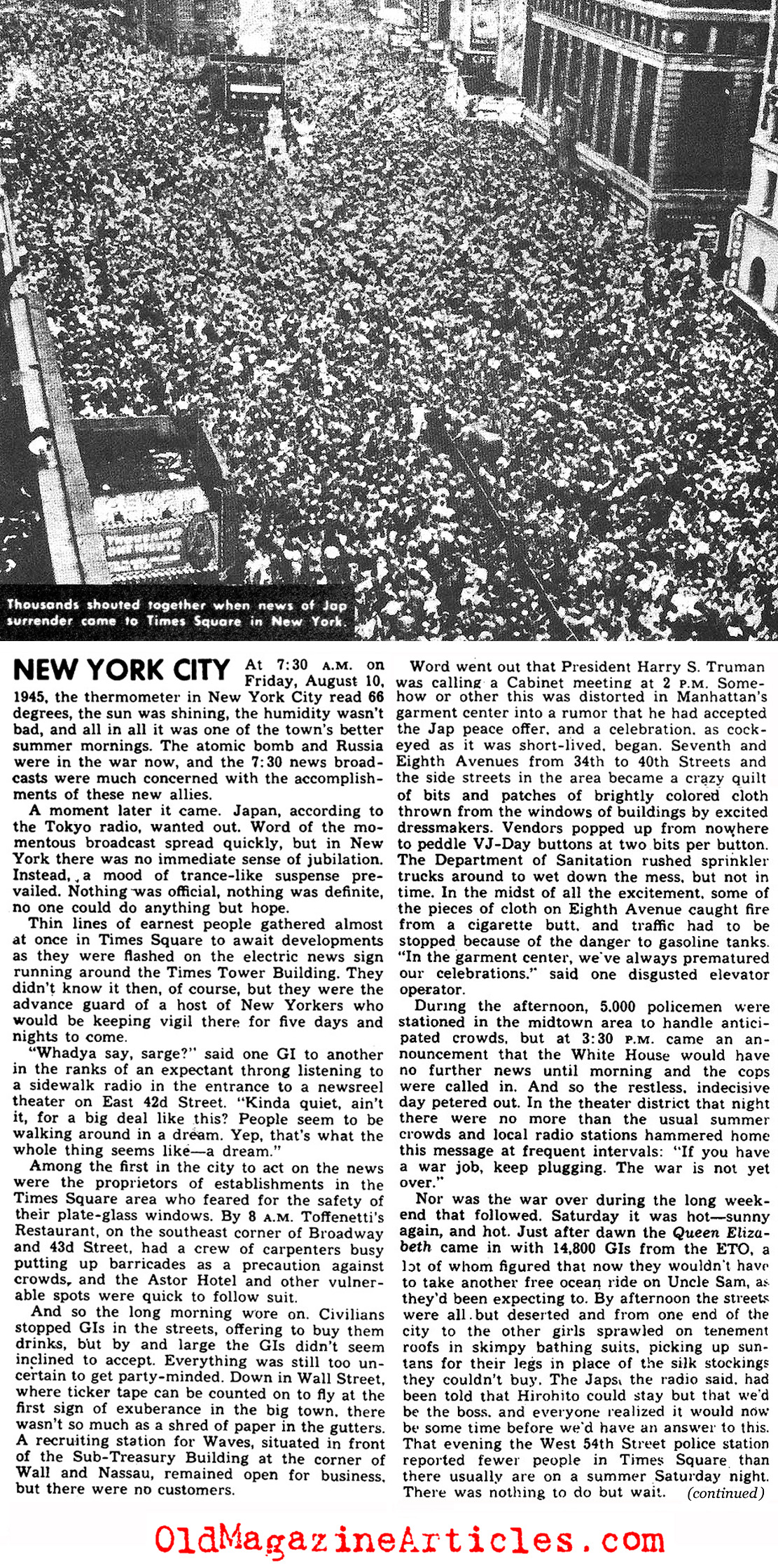 The attached YANK MAGAZINE article tells the story of what New York