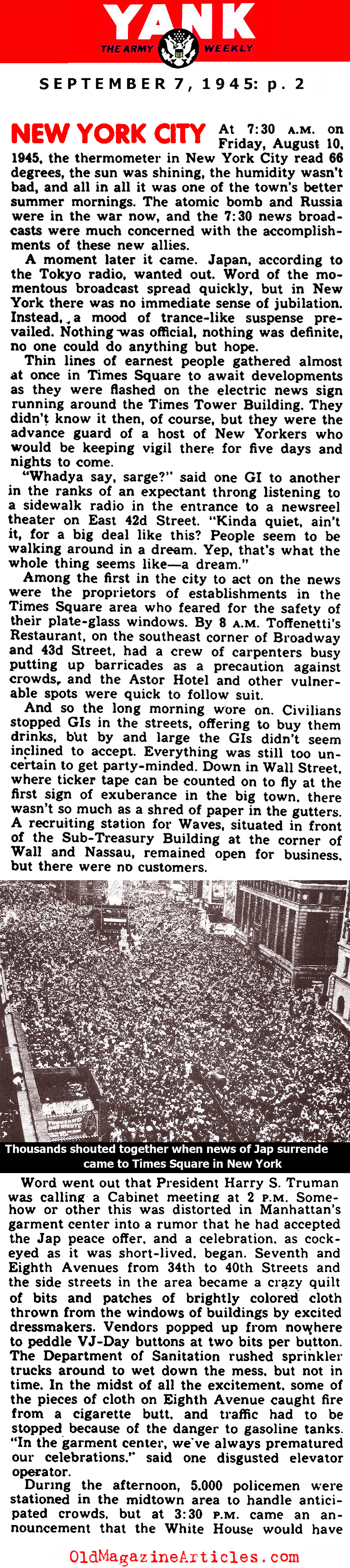 VJ Day in New York City (Yank Magazine, 1945)