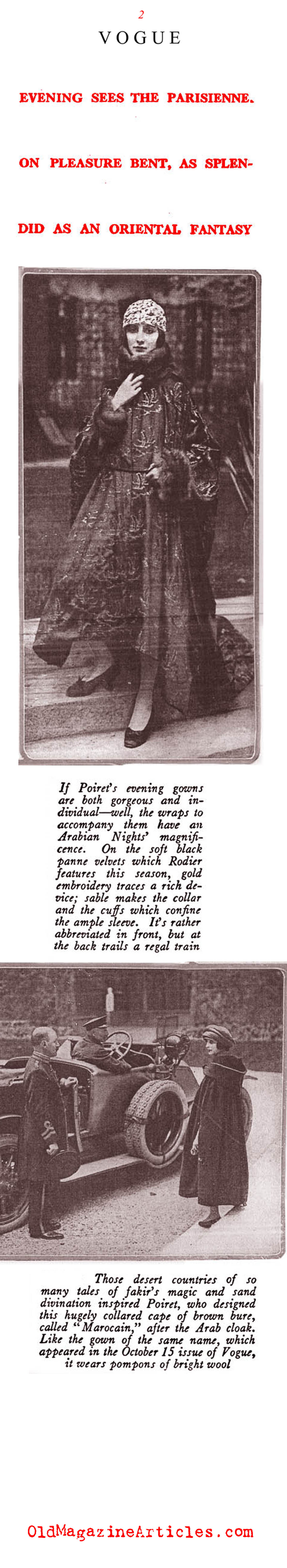 Poiret Wraps and Coats (Vogue Magazine, 1919)
