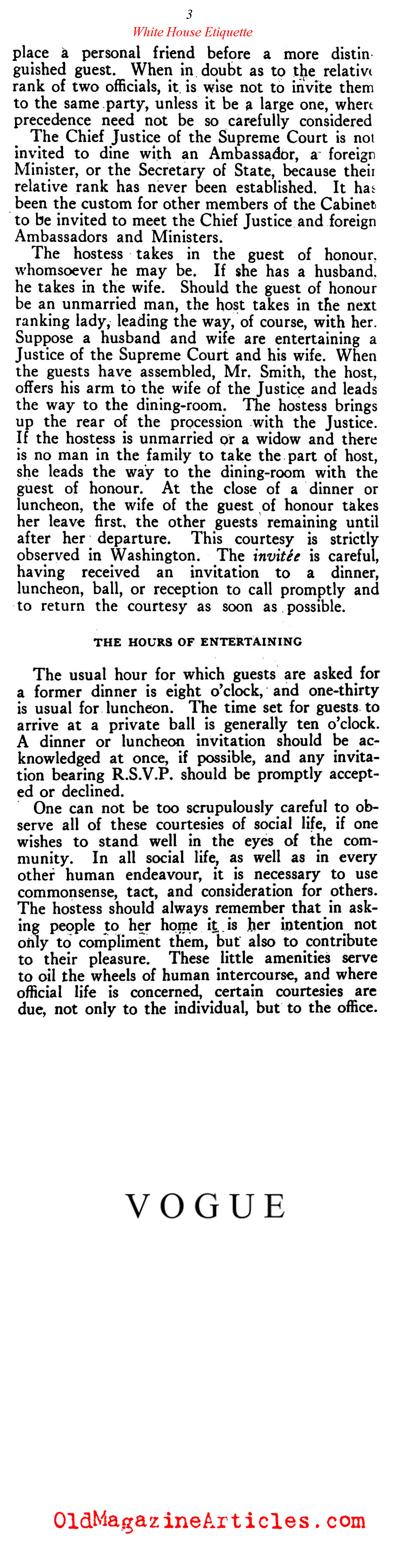 Social Customs in Washington, D.C. (Vogue Magazine, 1921)