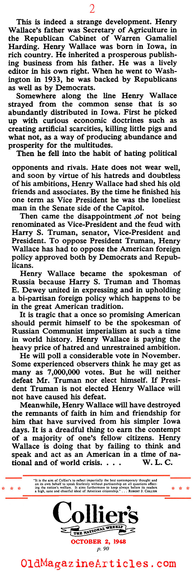 Henry Wallace: Was He Red? (Collier's Magazine, 1948)