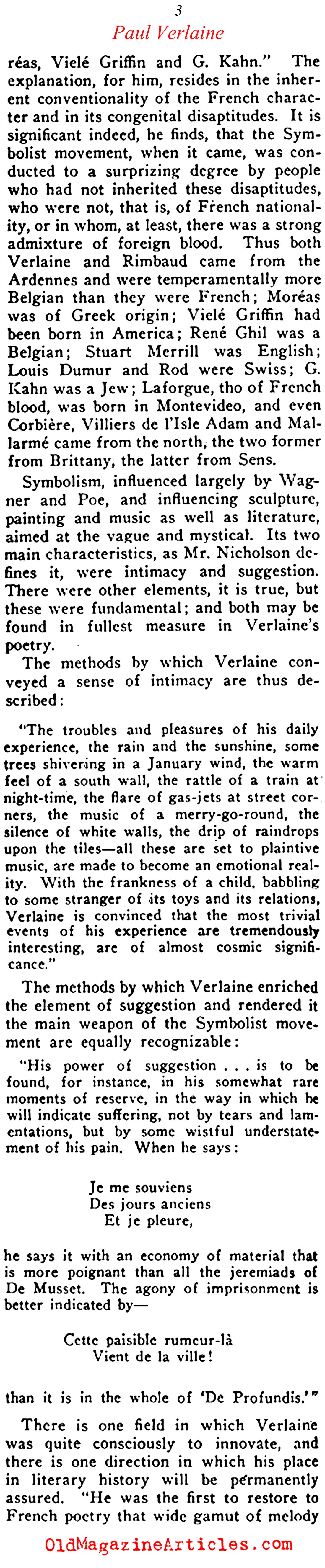 Harold Nicolson on Paul Verlaine (Current Opinion, 1921)