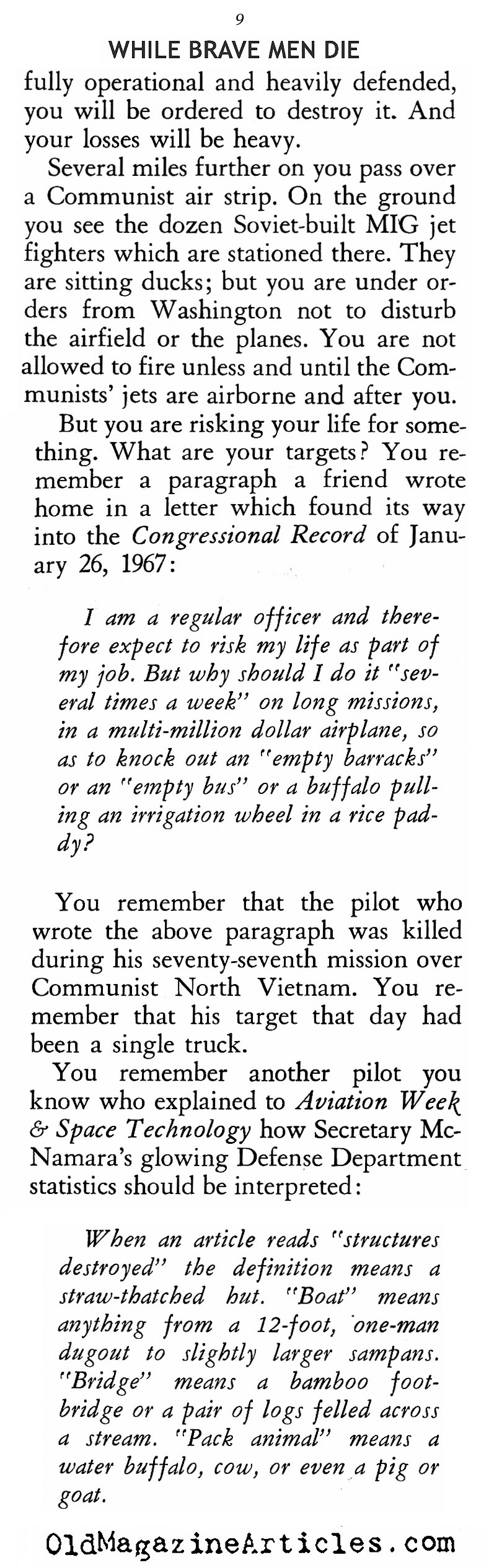 ''While Brave Men Die'' (American Opinion, 1967)