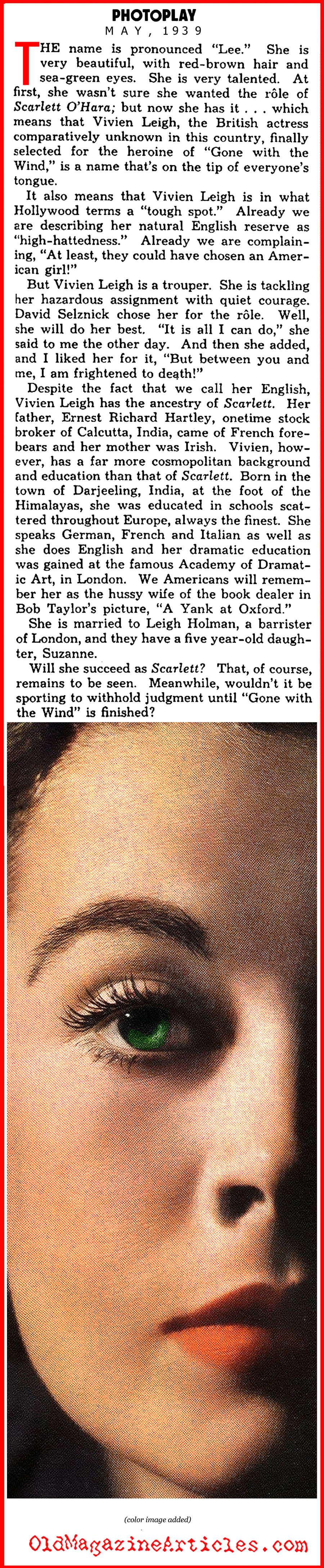 Vivien Leigh to Play Scarlet (Photoplay Magazine, 1939)
