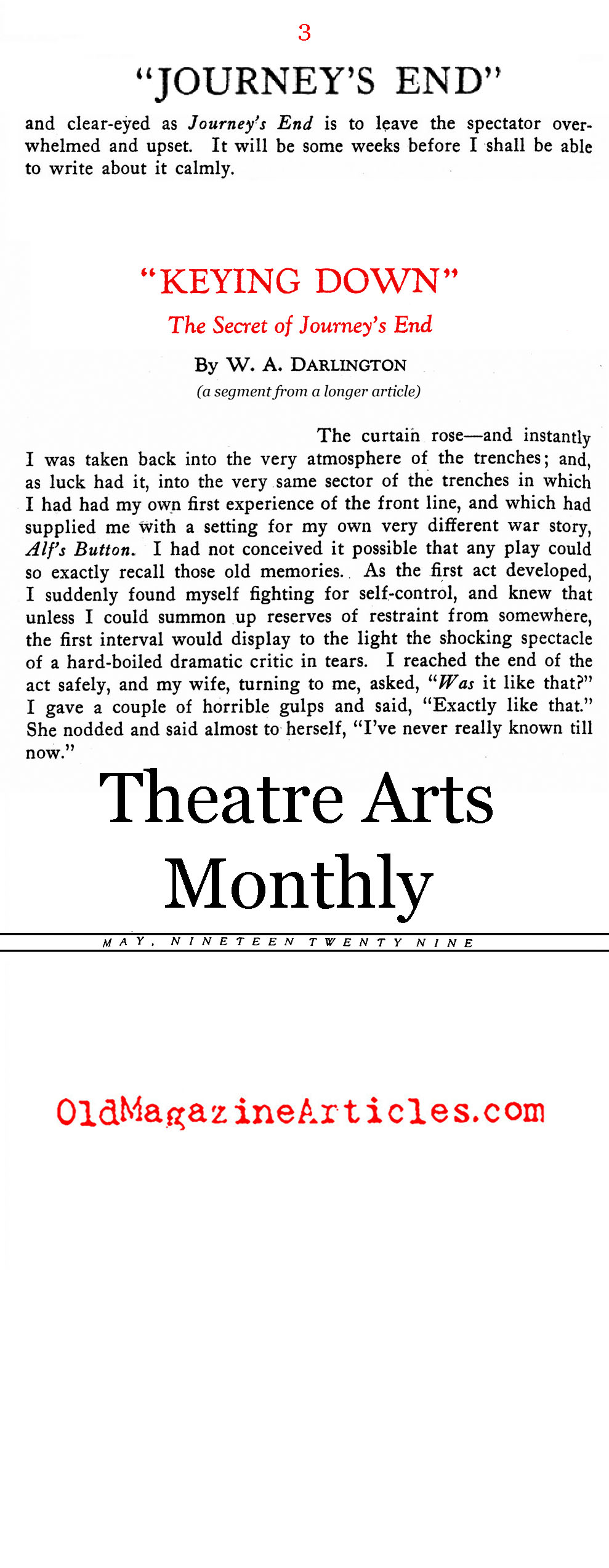 JOURNEY'S END by R.C. Sheriff (Theatre Arts Magazine, 1929)