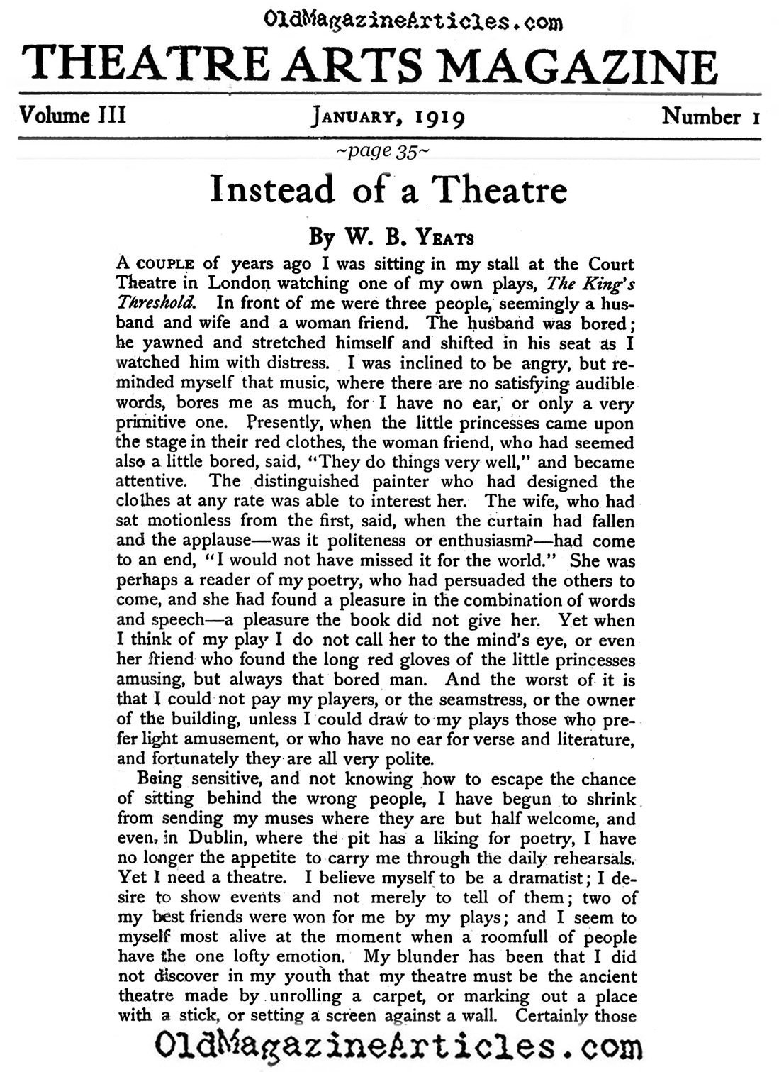 W.B. Yeats  Gripes About the Theater-Going Bourgeoisie <BR>(Theatre Arts Magazine, 1919)