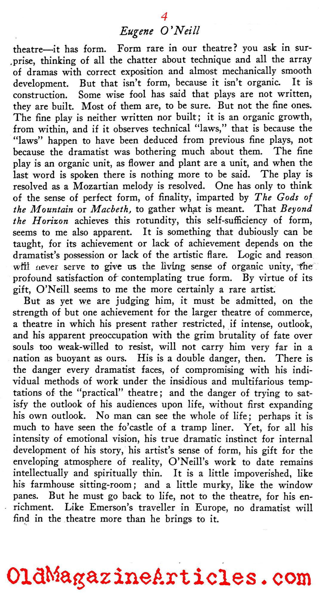 Harsh Words for Eugene O'Neill (Theatre Arts Magazine, 1920)