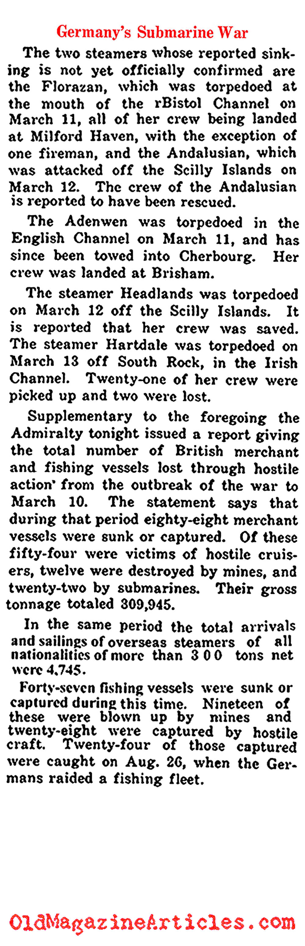 Submarine Warfare: The First Seven Months (New York Times, 1915)